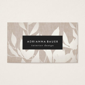Elegant Modern Silver Leaves Nature Tan Linen Look Business Card