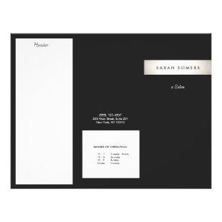 Elegant Modern Silver Stripe Black Salon Brochure