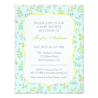 Elegant Modern Spring Leaves Pattern Baby Shower Card