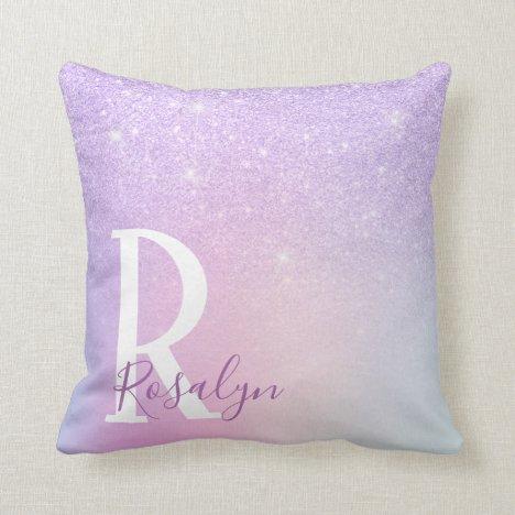 Elegant modern stylish girly ombre purple glitter throw pillow