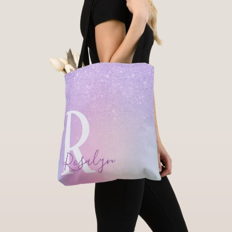 Elegant modern stylish girly ombre purple glitter tote bag