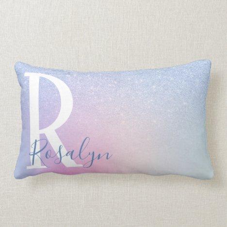 Elegant modern stylish ombre blue glitter rainbow lumbar pillow