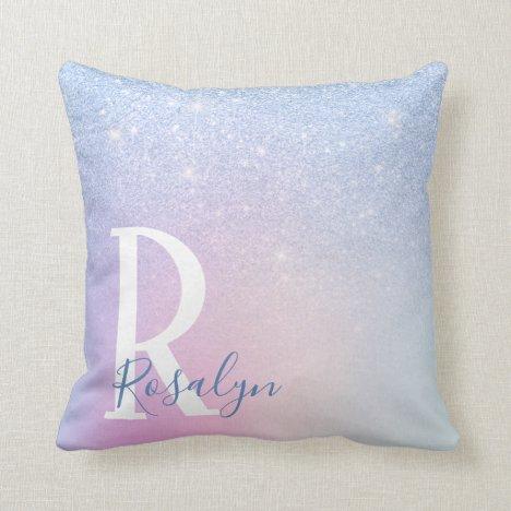 Elegant modern stylish ombre blue glitter rainbow throw pillow