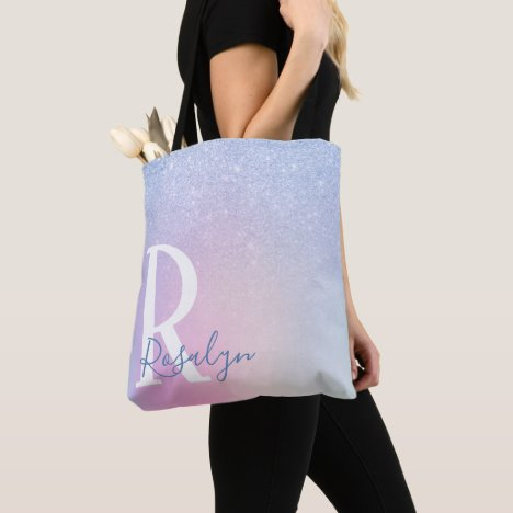 Elegant modern stylish ombre blue glitter rainbow tote bag