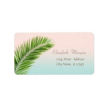 Beach Themed Elegant Modern Stylish,Palm Leaves Label