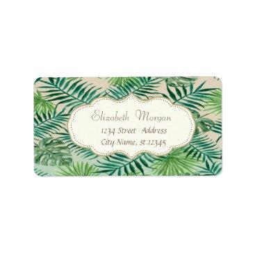 Beach Themed Elegant Modern Stylish,Tropical Palm Leaves Label
