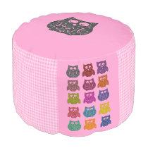 Elegant modern trendy girly gingham colorful owls pouf