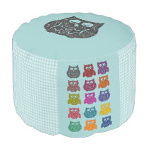 Elegant modern trendy girly gingham colorful owls pouf