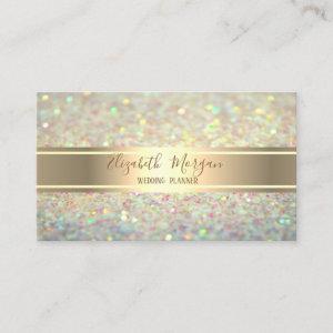 Elegant Modern Trendy Glitter Bokeh,Gold Stripe Business Card