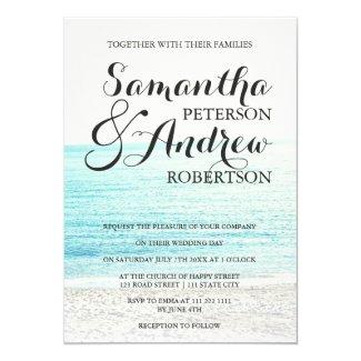 Elegant modern tropical beach photography wedding invitation