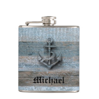 Elegant modern vintage anchor nautical personalize flask