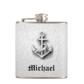 Elegant modern vintage anchor nautical personalize hip flask