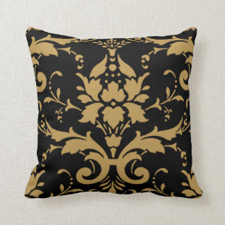 Elegant Modern Vintage Gold Damask on Black Pillow