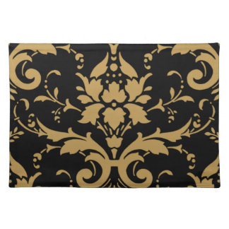 Elegant Modern Vintage Gold Damask on Black Placem Placemat