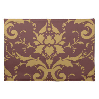 Elegant Modern Vintage Gold Damask on Brown Placem Placemats