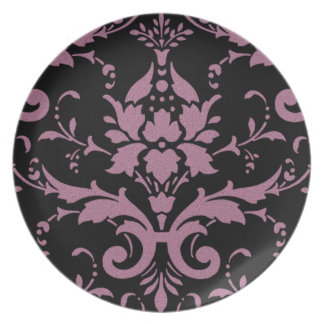 Elegant Modern Vintage Purple Damask on Black Dinn Party Plates
