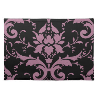 Elegant Modern Vintage Purple Damask on Black Plac Place Mat