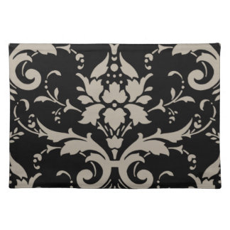 Elegant Modern Vintage Silver Damask on Black Plae Place Mats