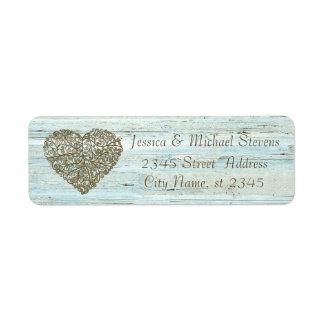 Elegant modern vintage wedding abstract heart wood label