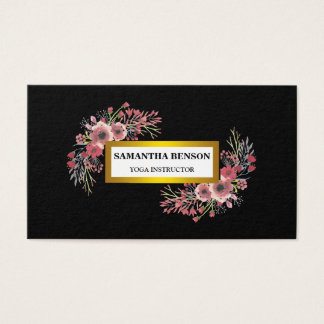 Elegant modern Watercolor floral illustration yoga Business Card