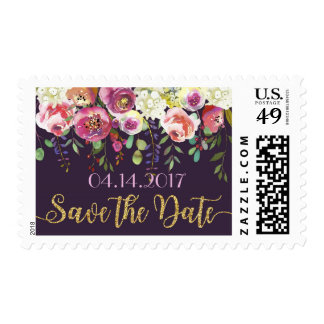 Elegant Modern Watercolor Floral Save the Date Postage