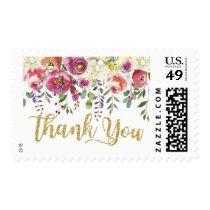 Elegant Modern Watercolor Floral Thank You Postage