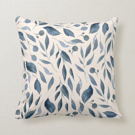 Elegant Modern Watercolor Leaves Pattern Navy Blue Throw Pillow