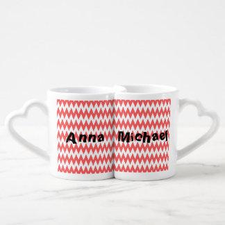 Elegant modern whimsical chevron coral add name lovers mugs