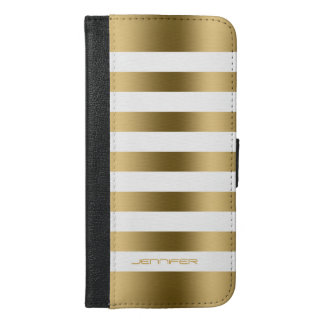 Elegant Modern White & Gold Stripes iPhone 6/6s Plus Wallet Case