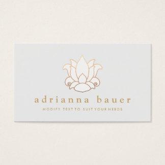 Elegant Modern White Lotus Flower Light Gray Business Card