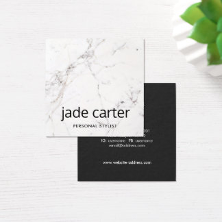 Elegant Modern White Marble Professional Square Business Card