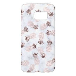 elegant modern white marble rose gold pineapple samsung galaxy s7 case