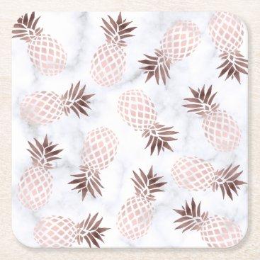 elipsa elegant modern white marble rose gold pineapple square paper coaster