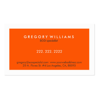 Elegant Modern White & Orange SEO Specialist Business Card