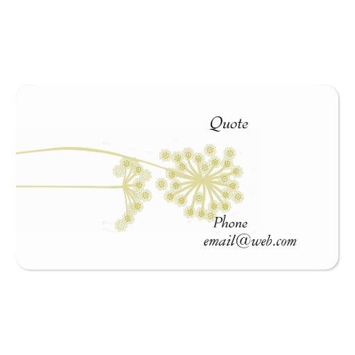 Elegant Modern Wild Flower Floral Business Card Templates (back side)