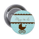 Elegant Mom-to-Be Baby Carriage and Blue Damask Pinback Buttons