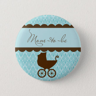 Elegant Mom-to-Be Baby Carriage and Blue Damask Pinback Button