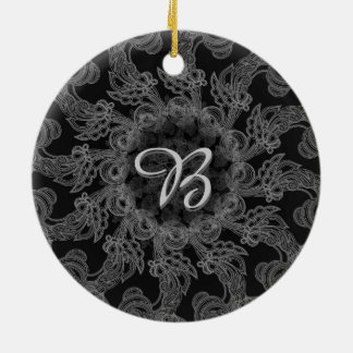 Elegant Mongogram in Silver and Grey Pattern Christmas Ornament