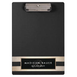 Elegant Monogam Striped Black and FAUX Gold Foil Clipboard