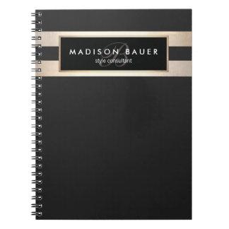 Elegant Monogam Striped Black and FAUX Gold Foil Spiral Notebook