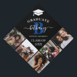 """Elegant Monogram 5 Photo Graduation Cap Topper<br><div class=""""desc"""">This elegant monogram graduation cap topper features a black background with a 5 photo collage of the graduate,  a white graduation cap ,  class year,  school and initial and name in handwritten calligraphy script.</div>"""