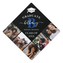 Elegant Monogram 5 Photo Graduation Cap Topper