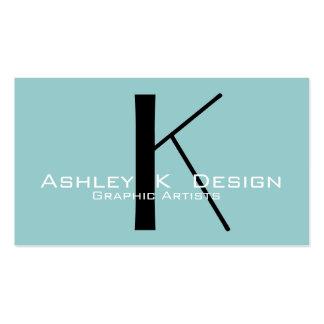Elegant Monogram Aqua Customizable Business Card
