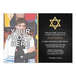 Elegant Monogram Bar Mitzvah with photo Announcements