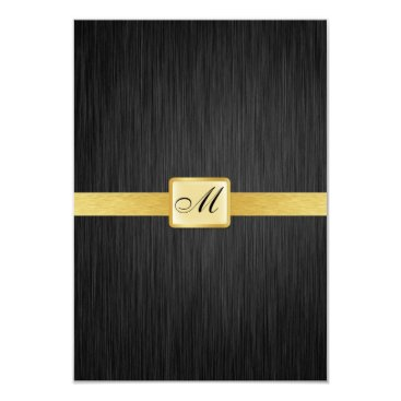 Elegant Monogram black and gold Thank You Card Personalized Invite