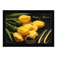 Elegant Monogram Black And Gold Tulip Invitation