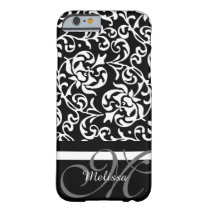 Elegant Monogram Black and White Damask Barely There iPhone 6 Case