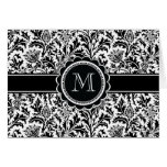 Elegant Monogram Black and White Floral Pattern Greeting Card