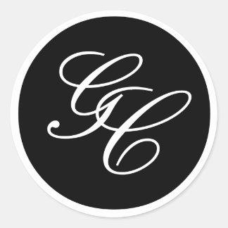 Elegant Monogram Black and White Wedding Sticker