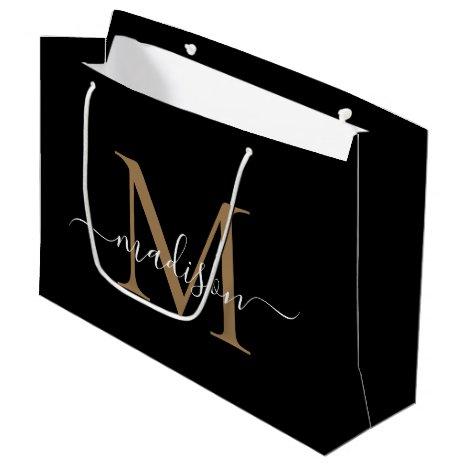 Elegant Monogram Black Gold Elegant Script Name Large Gift Bag
